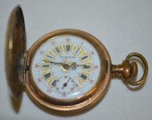 Princess 3/0S Hunting Case Pocket Watch No. 6061: The fancy dial looks good and is in a C.W.Co. IDEAL 20 Year case No. 4393265. The watch is running.