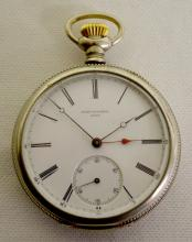 Jules Huguenen 16S 18J OF LS Pocket Watch with Serial No. 24269 and a signed porcelain dial with seconds bit. In an engraved Guaranteed Genuine Silveroid case #841948 with the movement signed