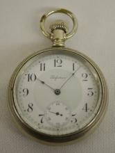 New York Standard Perfection No. 390 16S OF SW Pocket Watch No. 7044142: With a good flat dial in an Illinois W.C.Co. Nickel SF&B case No. 274988. The watch is running.