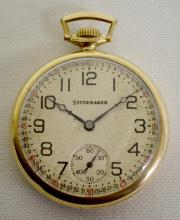 South Bend Studebaker 12S 21J OF GF Pocket Watch with a Signed Studebaker Montgomery Dial and Serial No. 1184301: Double Roller, 8 Adj. in a Nawco King 14K GF Case #472168.