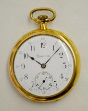Hamilton Gr 902 19J 12S OF DMK Adjusted 5 Pos. RGJS Pocket Watch No. 1755037 : In a yellow 25 Year Swing out Hamilton case No. 9587946. The watch is running.