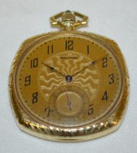 Waltham 12S 17J 14K OF Swing-Out Pocket Watch with a Signed Dial with Seconds Bit and Serial No. 22497418 with cabochon set stem and an engraved case.