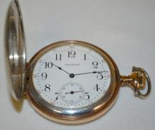 Waltham 12S 15J Two-Toned Hunting Case Pocket Watch with a Signed Porcelain Dial with Seconds Bit, Serial No. 18529332.