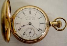 Aurora 18S 15J GF Hunting Case Pocket Watch with a Signed Porcelain Dial, Serial No. 47333: The dial reads