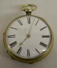 Wm. Wallace - London Silver KW 41MM Fusee Pocket Watch No. 8048 with Carved Face on the Balance Cock: The case is hallmarked.