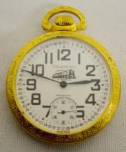 Delemont 16S 17J  Pocket Watch with a Train on the Porcelain Dial: Signed