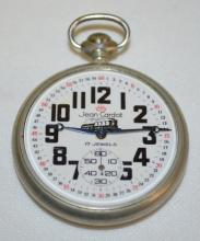 Jean Cardot 16S 17J OF Pocket Watch with a Russian Railroad Engine on the back, Serial No. 144263: There is a porcelain dial with seconds bit. The dial has
