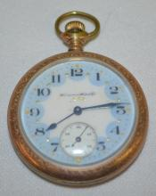 Hampden General Stark 15J 12S OF LS Pocket Watch No. 2202769: With a blue dial that looks okay. In a yellow SF & B 20 Year Dueber case No. 7535819. The watch is running.
