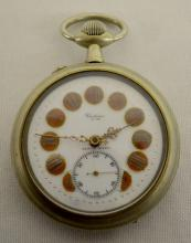 Violina J. W. MI-Chronometre 18882 Oversized Pocket Watch with Locomotive: Open face with a pin set 53MM movement in a 65 or 66 MM case. With a white enamel dial with gold on red numerals marked Violina J.W. and Depose 18882. The watch is running.