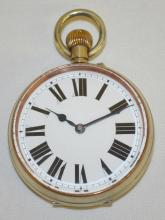 Display Pin Set Pocket Watch: The pocket watch is  over-sized with a glass cover over the 60MM pin set,  2 finger bridge movement with stem winder. It is open faced and unmarked other than No. 75603. It is relatively clean in appearance.