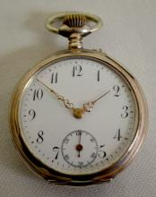 Swiss 12S 6J Cylinder OF Pocket Watch with a porcelain dial and seconds bit. In a shield embossed  Argent 800 Case #257423. The dust cover is inscribed