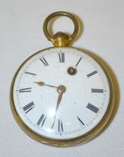 Fusee Pocket Watch with Face  Carved Balance Cock and Running KW Movement: The only mark is the initials
