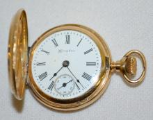 Hampden 14K Molly Stark HC Pocket Watch No. 1459121: The dial is good. In a yellow 14K case No. 4695586. The watch is running.