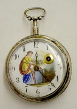 Terror Geneve Swing Out KW Silver Cased Pocket Watch,  #7329, Circa 1697 - 1743: With a decorated porcelain dial with winding arbor and a Bull's Eye crystal. In a front wind silver case #3165. There is a painting of a woman with a plant on the dial.