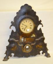Antique Chauncey Jerome Iron Case Shelf Clock: T & S with winding arbors on the edge of the dial and a good interior label. Not tested. 20 1/2