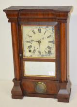 Antique Seth Thomas Split Column Shelf Clock: T & S with painted metal dial, the pendulum, a good interior label and a mirrored lower door. In a nice case. Not running. 16
