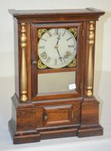 Antique Atkins Rosewood Parlor Shelf Clock: T & S with a painted metal dial, the pendulum and a good interior label. In a nice case with a mirrored door and split columns. Not tested. 16 3/4