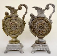 Pair of Antique Ansonia Clock Side Pitchers,
