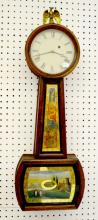 American Weight Driven TO Banjo Clock: unsigned dial; painted throat and tablet; has weight and pendulum. Not tested. 31