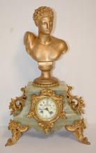 Antique French Marque Depose Hermes Statue Clock: T & S with a decorated porcelain dial. The bell strike movement is signed