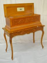 Antique Carved Oak Swiss Coin Operated Music Box,