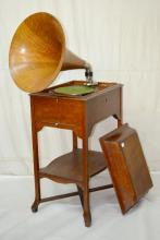 RCA Victor Floor Model Schoolhouse Phonograph with Large Oak Horn: Not tested. 43