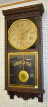 Antique Sessions Pressed Carved Oak Store Regulator Clock: T.O. with brass trim, an ornate dial and the old, original finish. Not tested. 38