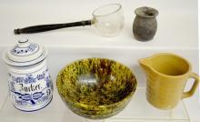 Five Kitchen Collectibles: 1) Green spatter bowl; 2) Short's Grocery Milk Pitcher; 3) Porcelain jar, Dr. Max Keim & Co.