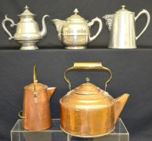 Five Vintage Teapots and Coffee Pots, Copper, Tallest is 8 1/2