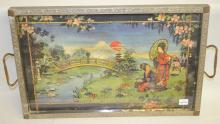 Antique Metal Framed Tray w/Oriental Scene: Metal frame and back w/relief flowers and leaves; scene depicts 2 Oriental women in the countryside; 1