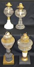 Four Antique Oil Lamps: 1)