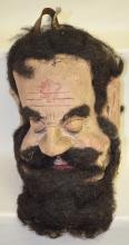 Antique I.O.O.F. Initiation or Ceremonial Over-the-Head paper mache mask, painted and with applied frizzy hair and a beard; 14