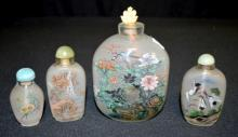 Four Chinese Snuff Bottles, inside painted: 1) Two peacocks, 2 3/4