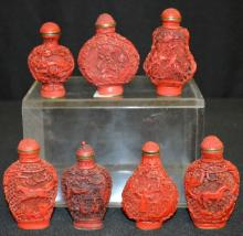 Seven Chinese Cinnabar Snuff Bottles, with subjects of birds, horses, people, and other, all by the same maker.  All have caps. 2 3/8