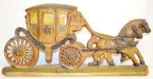 Antique Painted Chalk Horse and Carriage Electric Lamp, 9