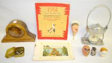 Ten Collectibles: Heads, scale weights, lamp, clock, calendar, and booklet, Largest is 8 3/4