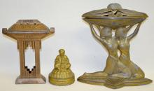Egyptian Revival Incense Burners and Snake Charmer, Tallest is 7 1/4