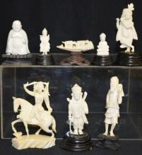 Eight Small Carved Ivory Figures