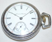 Dueber Hampden 7-17J 18S OF LS Full NI DMK Pocket Watch No. 984336 with a SSD and in a White SF&B base metal case No. 691508