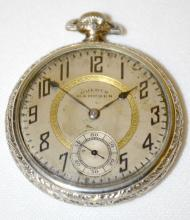 Dueber Hampden No. 109 15J 16S OF SW Pocket Watch No. 3695000 with a metal dial and in a white I.W.C. Co. Supreme Case No. 4901150, running