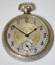 Dueber Hampden Viking 17J 12S OF SW Adj. DMK Pocket Watch No. 3806951 with a fancy metal dial and in a white Star Scepter SF&B Case No. 6633605, running