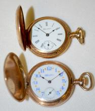 2 Hampden Hunting Case Pocket Watches, with seconds bits - Diadem and Molly Stark