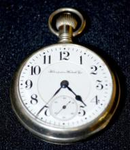Hampden North American Railway 21J 18S OF SW Adj. GJS DMK Pocket Watch No. 1726612 in a white display back case with Snap-On front and back covers, running
