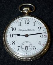 Hampden Wm. McKinley 21J 16S OF LS GJS DR Adj. 5 Pos. DMK Pocket Watch No. 3301376 with a DS Montgomery Dial and in a white SF&B  I.W.C. Co. Supreme Case No. 5444280, running