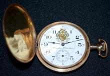 Hampden William McKinley 17J 16S LS NI DMK Adj 2Fin No. 3079312 Hunting Case Pocket Watch, DSD has a crest on it, running, in a yellow 25-year Dueber No. 8425222 Hunting Case.  A 1914 presentation to Van Pelt is engraved on the dust cover