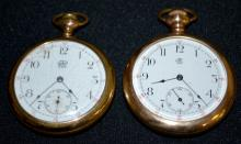 Two Trenton 7-17J 16S OF SW 3FBrg DMK Pocket Watches