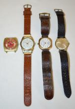 4 Men's Wristwatches: Genova; Timex; Hedora and Baylor: The first 3 have leather bands; the Baylor does not have a band. The Genova is running and the others are not.
