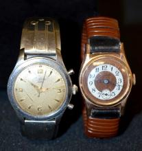 2 Fixed Band Wrist Watches: Zodiac & Geneve: 1.) Zodiac on a SS band marked Don Juan, Chicago, Ill. Running. 2.) Geneve on wrapped band, copper and white dial w/seconds bit; running.