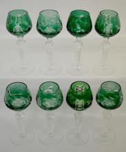 Eight Green European Cutback Crystal Wines cut with grapes and leaves, crisscross and diamond dividers, 5 1/4