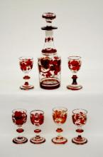 Antique Bohemian Ruby Stained Seven Piece Wine Set, small decanter and six wines; decanter is 7